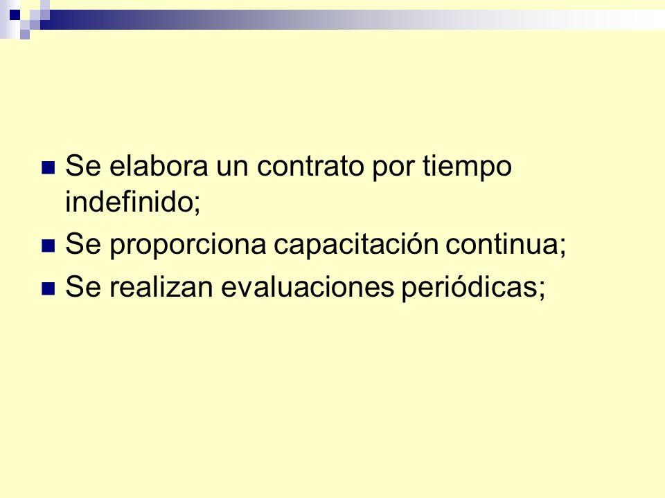Se elabora un contrato por tiempo indefinido; Se proporciona capacitación continua; Se realizan evaluaciones periódicas;