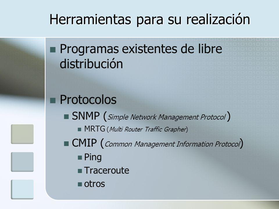 Herramientas para su realización Programas existentes de libre distribución Protocolos SNMP ( Simple Network Management Protocol ) MRTG (Multi Router