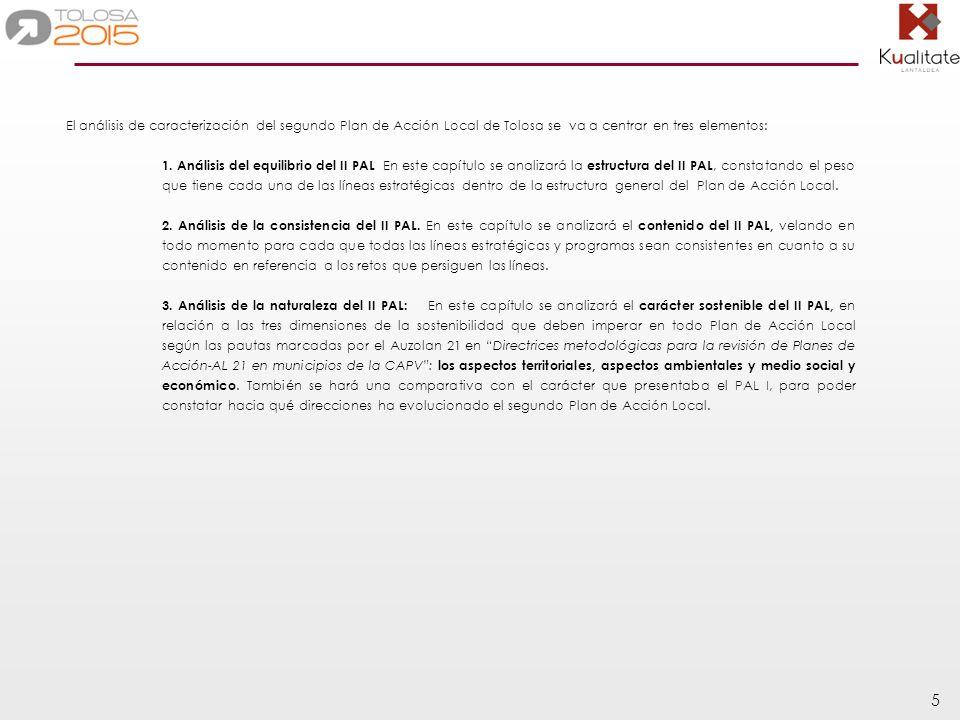 5 El análisis de caracterización del segundo Plan de Acción Local de Tolosa se va a centrar en tres elementos: 1.