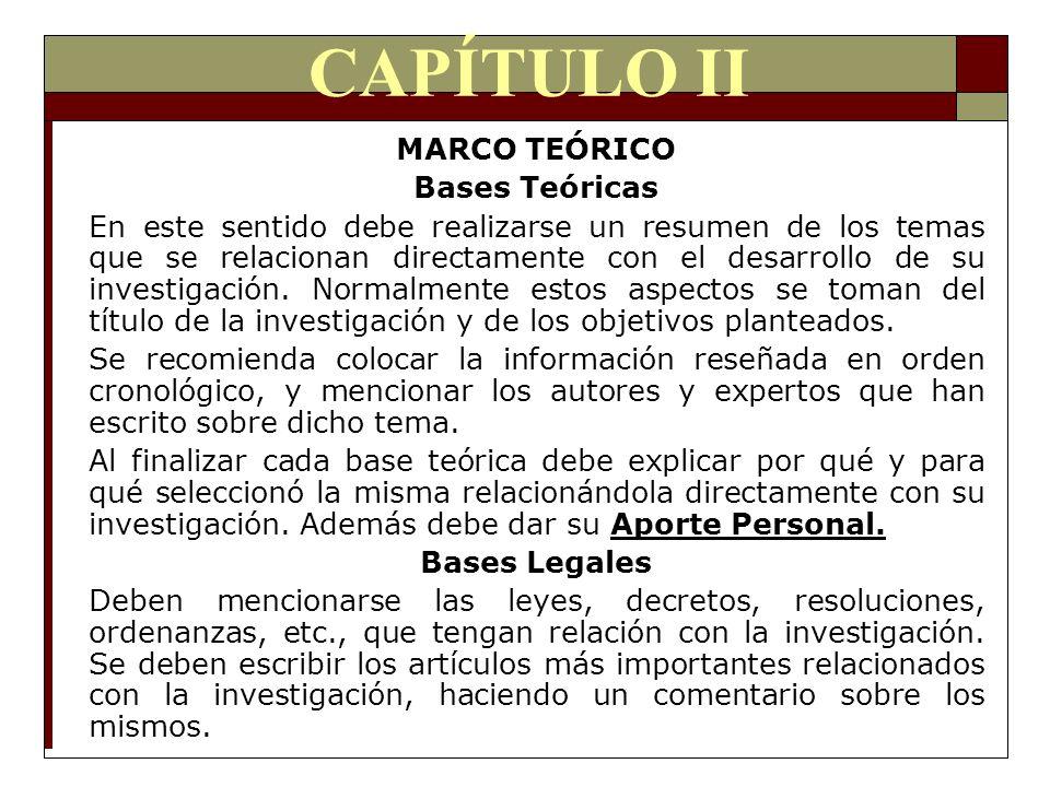 CAPÍTULO II MARCO TEÓRICO Bases Teóricas En este sentido debe realizarse un resumen de los temas que se relacionan directamente con el desarrollo de s