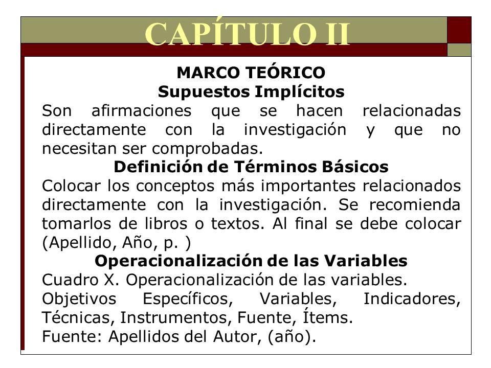 CAPÍTULO II MARCO TEÓRICO Supuestos Implícitos Son afirmaciones que se hacen relacionadas directamente con la investigación y que no necesitan ser com