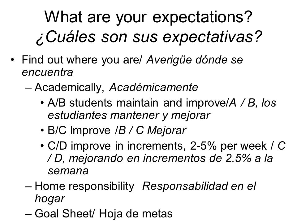 What are your expectations. ¿Cuáles son sus expectativas.