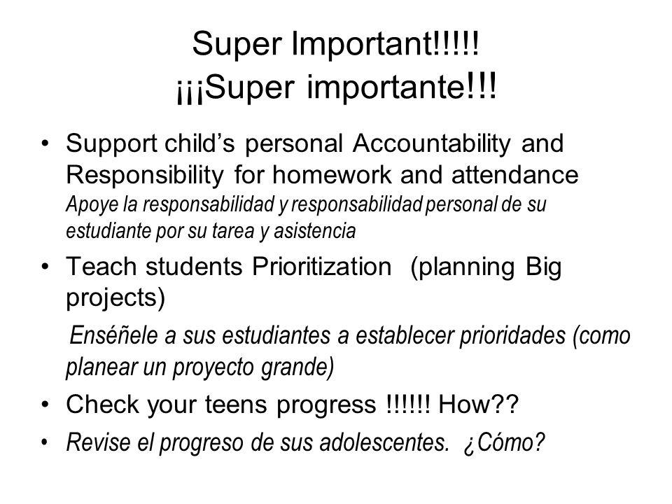 Check your Teens Progress Revise el progreso de su hijo(a) 6 week progress report vs.