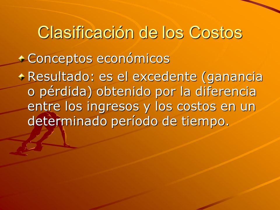 Clasificación de los Costos Conceptos económicos Resultado: es el excedente (ganancia o pérdida) obtenido por la diferencia entre los ingresos y los c