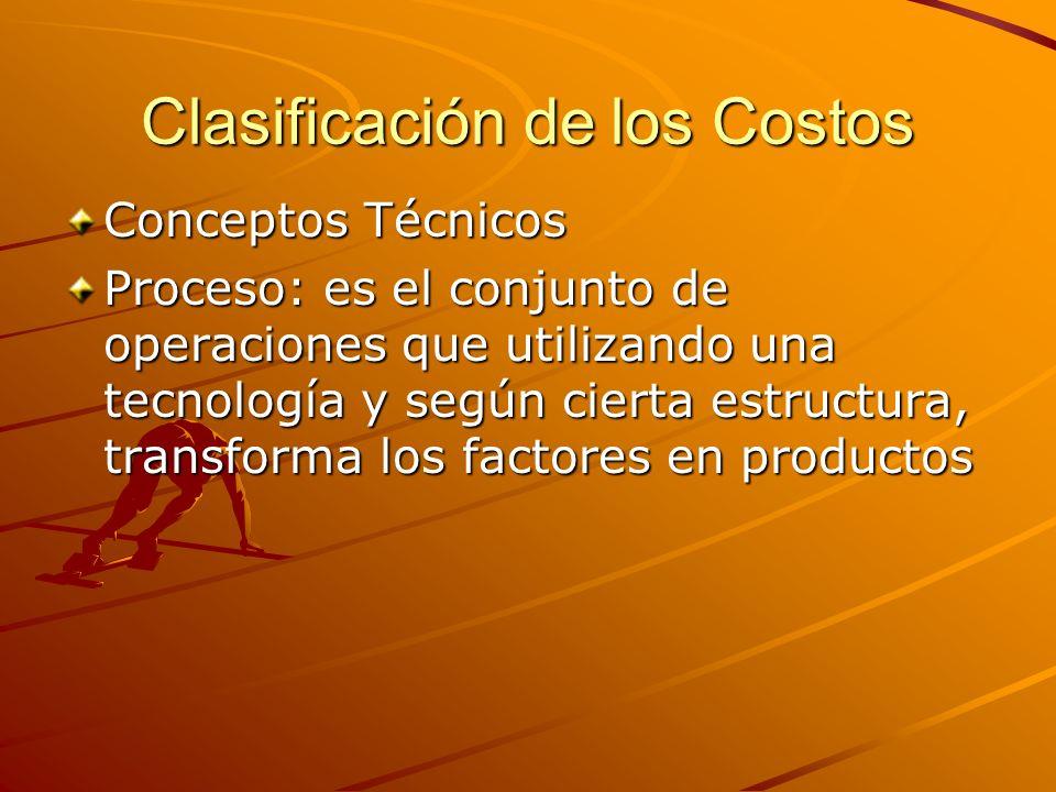 Clasificación de los Costos Conceptos Técnicos Proceso: es el conjunto de operaciones que utilizando una tecnología y según cierta estructura, transfo