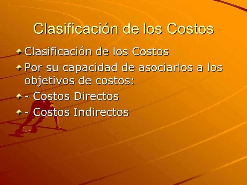 Clasificación de los Costos Por su capacidad de asociarlos a los objetivos de costos: - Costos Directos - Costos Indirectos