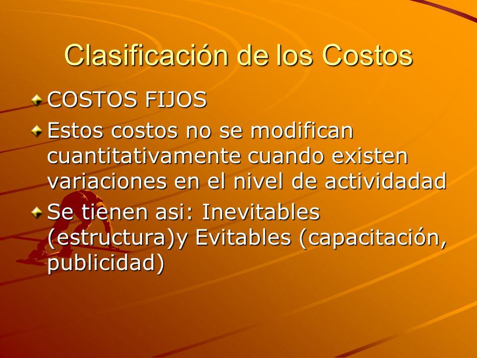 Clasificación de los Costos COSTOS FIJOS Estos costos no se modifican cuantitativamente cuando existen variaciones en el nivel de actividadad Se tiene