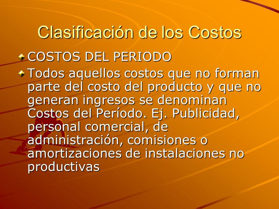 Clasificación de los Costos COSTOS DEL PERIODO Todos aquellos costos que no forman parte del costo del producto y que no generan ingresos se denominan