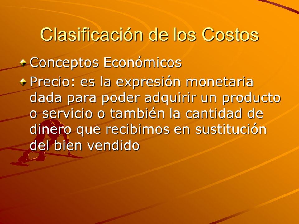 Clasificación de los Costos Conceptos Económicos Precio: es la expresión monetaria dada para poder adquirir un producto o servicio o también la cantid