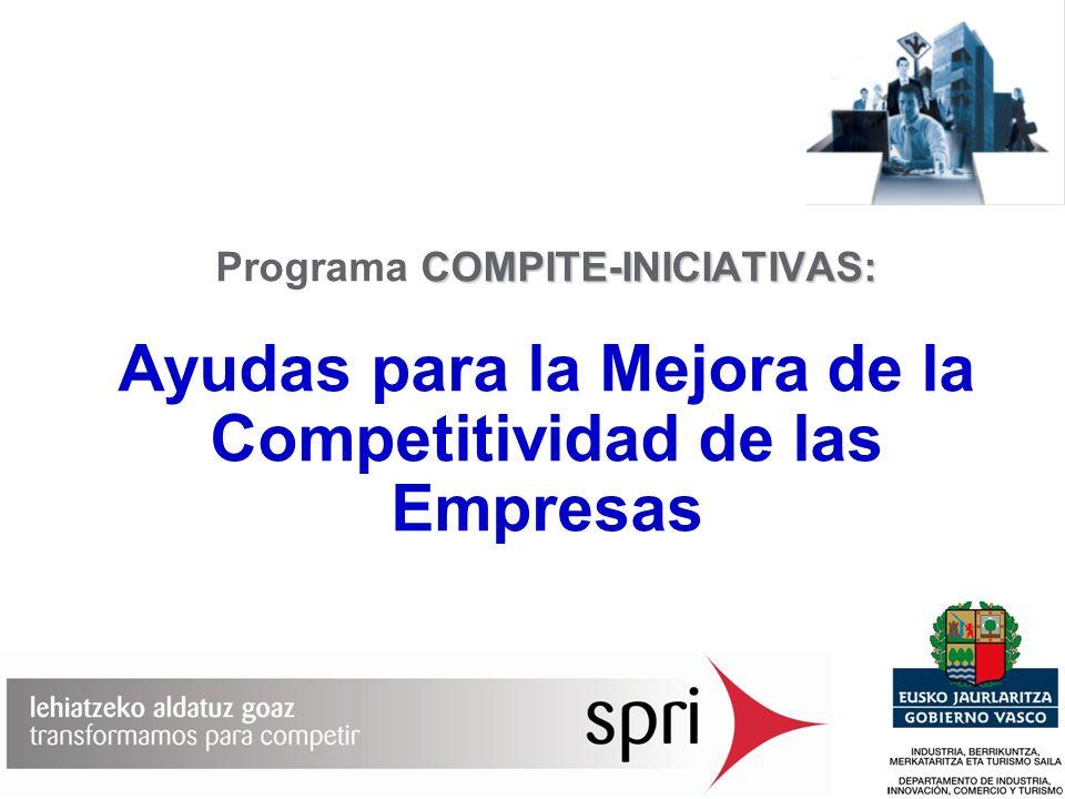 2 COMPITE INICIATIVAS Propiciar el desarrollo de actuaciones de mejora competitiva en las empresas de la Comunidad Autónoma del País Vasco, la ejecución de proyectos que busquen un mejor posicionamiento competitivo.