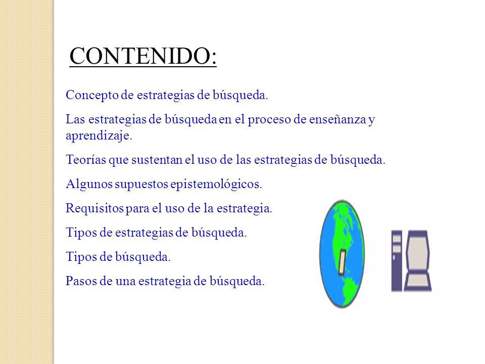 CONTENIDO: Concepto de estrategias de búsqueda. Las estrategias de búsqueda en el proceso de enseñanza y aprendizaje. Teorías que sustentan el uso de