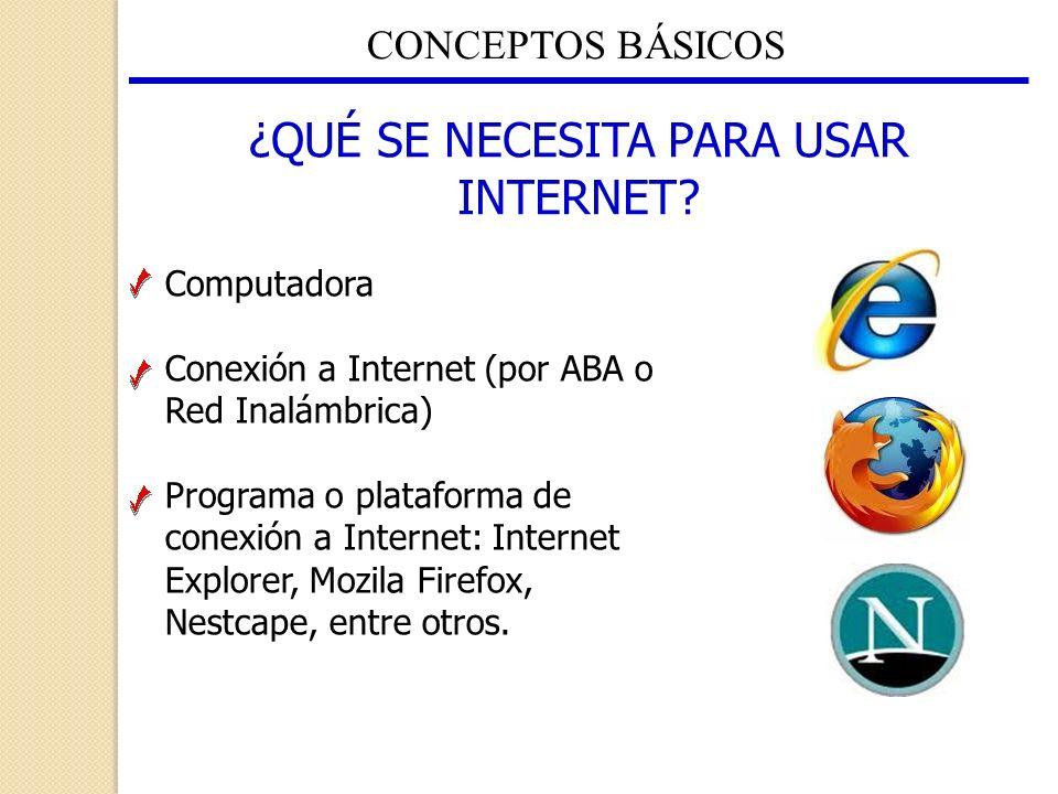 CONCEPTOS BÁSICOS ¿QUÉ SE NECESITA PARA USAR INTERNET? Computadora Conexión a Internet (por ABA o Red Inalámbrica) Programa o plataforma de conexión a