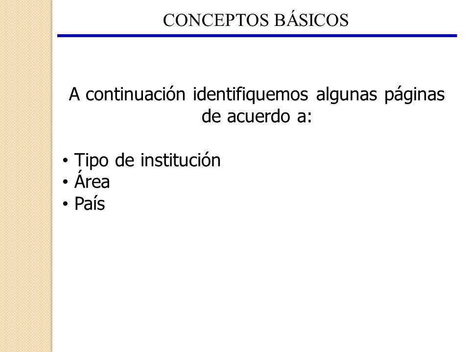 CONCEPTOS BÁSICOS A continuación identifiquemos algunas páginas de acuerdo a: Tipo de institución Área País