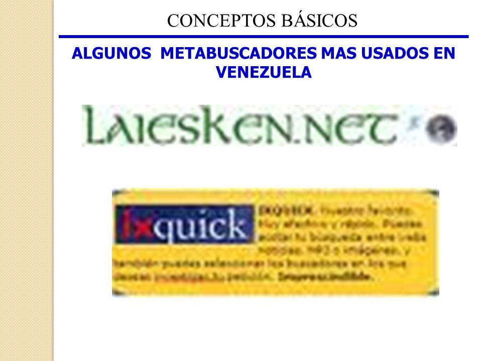 CONCEPTOS BÁSICOS ALGUNOS METABUSCADORES MAS USADOS EN VENEZUELA
