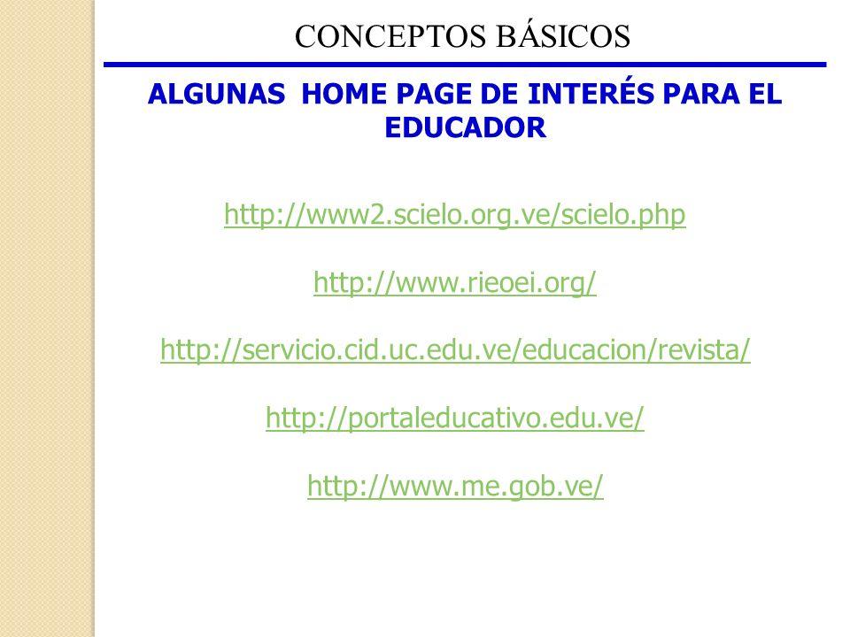 CONCEPTOS BÁSICOS ALGUNAS HOME PAGE DE INTERÉS PARA EL EDUCADOR http://www2.scielo.org.ve/scielo.php http://www.rieoei.org/ http://servicio.cid.uc.edu