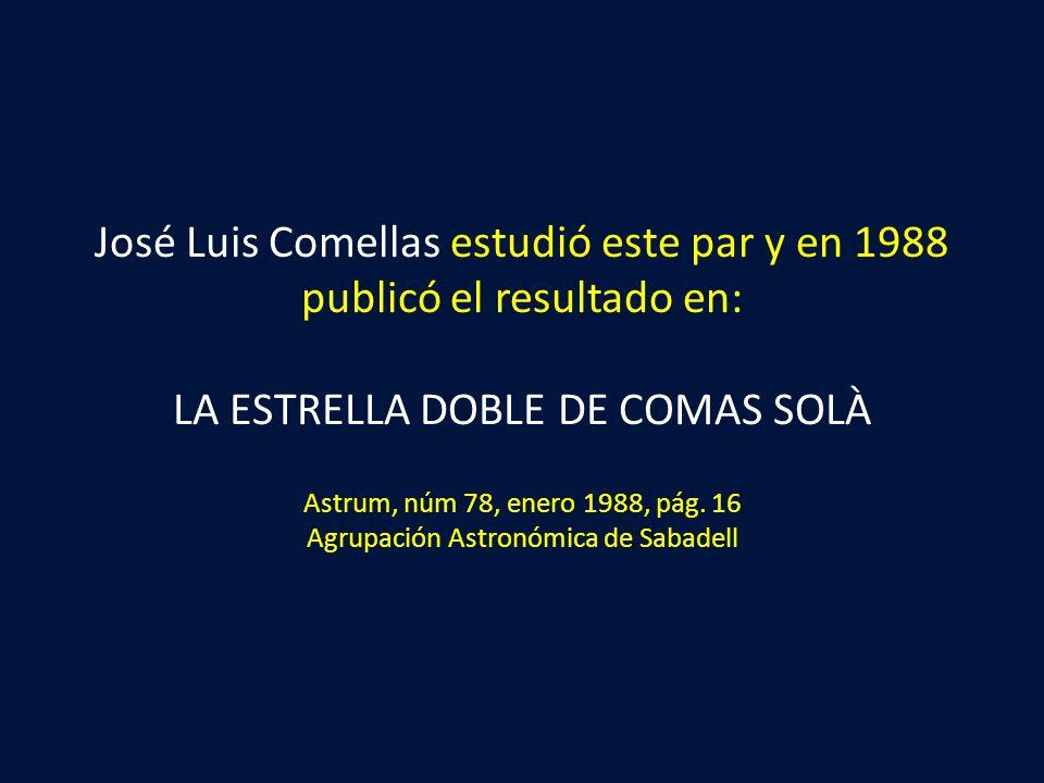 José Luis Comellas estudió este par y en 1988 publicó el resultado en: LA ESTRELLA DOBLE DE COMAS SOLÀ Astrum, núm 78, enero 1988, pág. 16 Agrupación