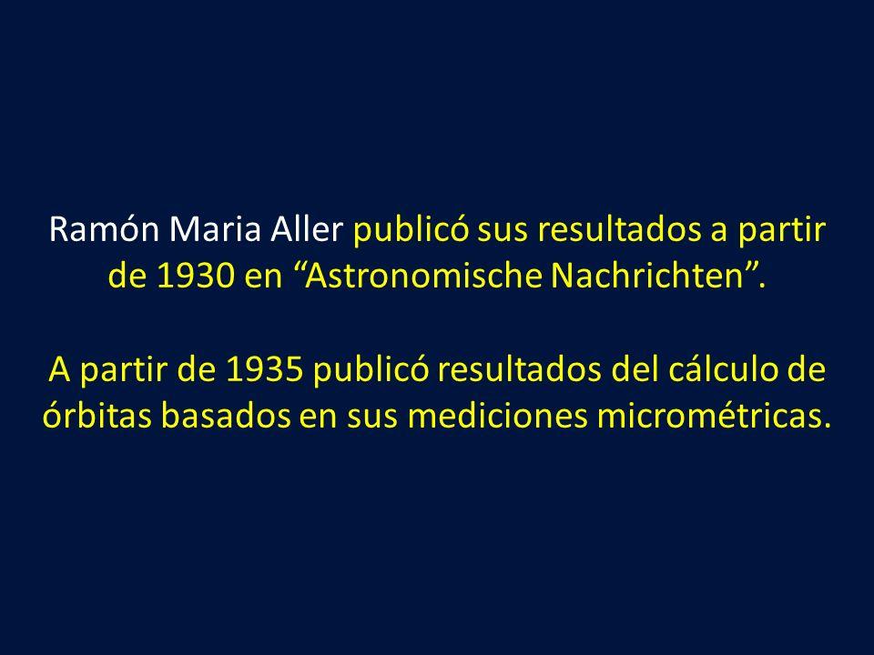Ramón Maria Aller publicó sus resultados a partir de 1930 en Astronomische Nachrichten. A partir de 1935 publicó resultados del cálculo de órbitas bas