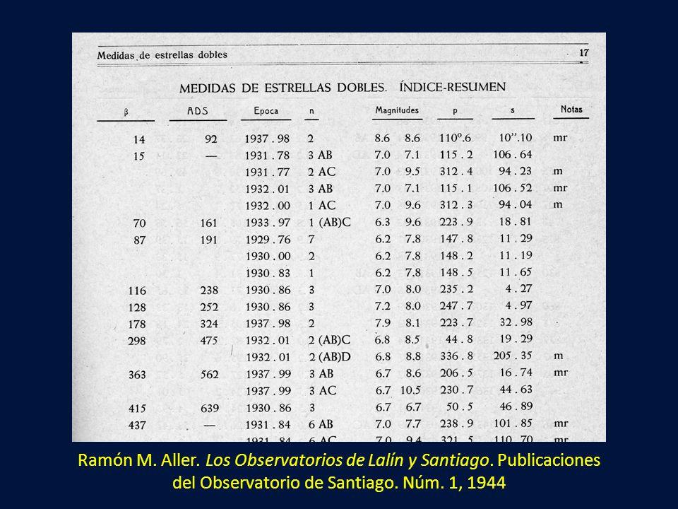 Ramón M. Aller. Los Observatorios de Lalín y Santiago. Publicaciones del Observatorio de Santiago. Núm. 1, 1944
