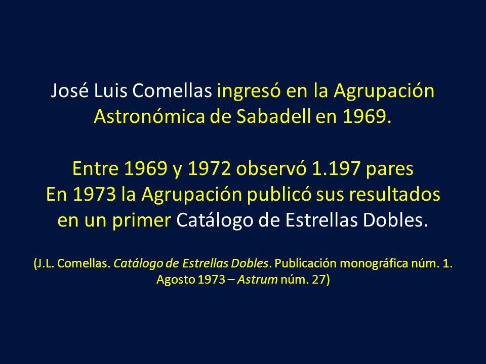 José Luis Comellas ingresó en la Agrupación Astronómica de Sabadell en 1969. Entre 1969 y 1972 observó 1.197 pares En 1973 la Agrupación publicó sus r
