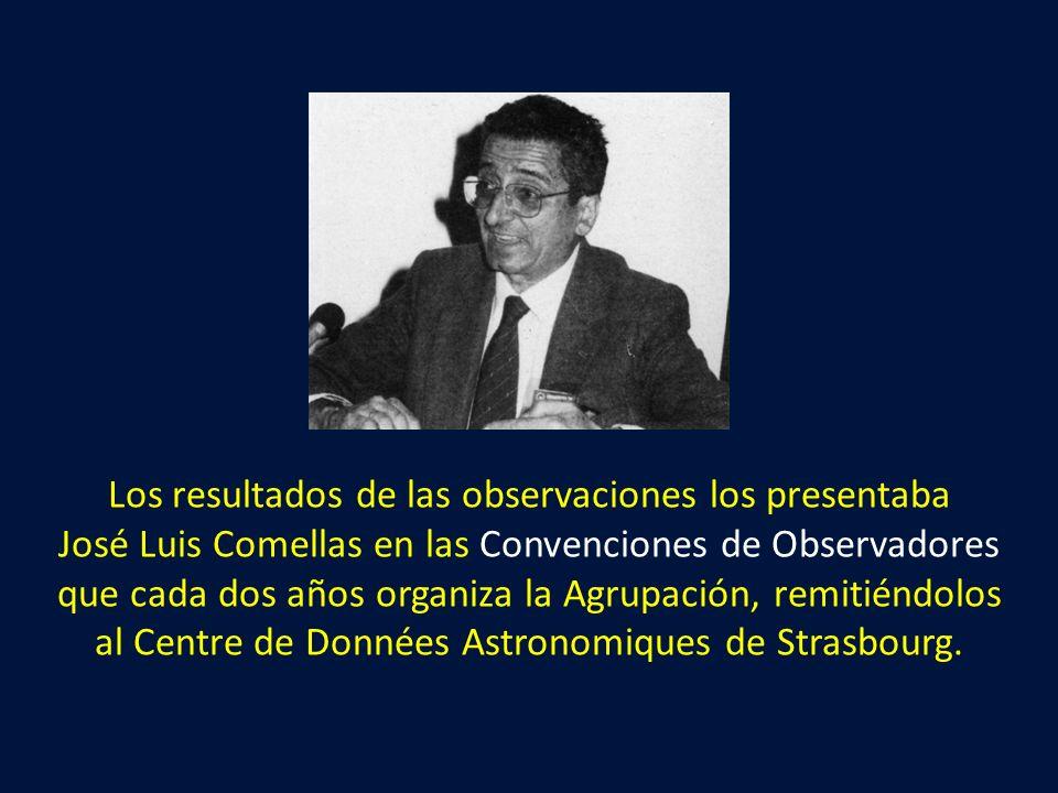 Los resultados de las observaciones los presentaba José Luis Comellas en las Convenciones de Observadores que cada dos años organiza la Agrupación, re