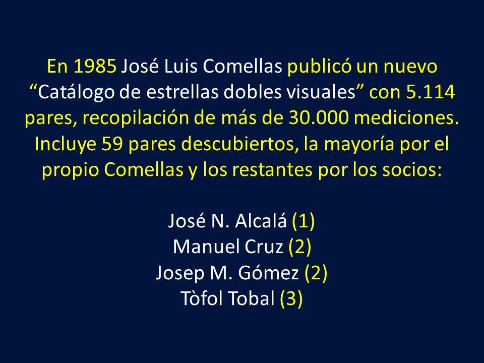 En 1985 José Luis Comellas publicó un nuevoCatálogo de estrellas dobles visuales con 5.114 pares, recopilación de más de 30.000 mediciones. Incluye 59