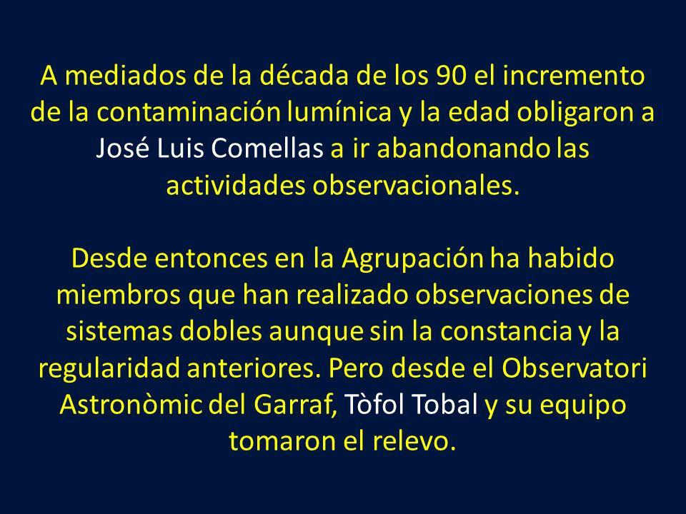 A mediados de la década de los 90 el incremento de la contaminación lumínica y la edad obligaron a José Luis Comellas a ir abandonando las actividades