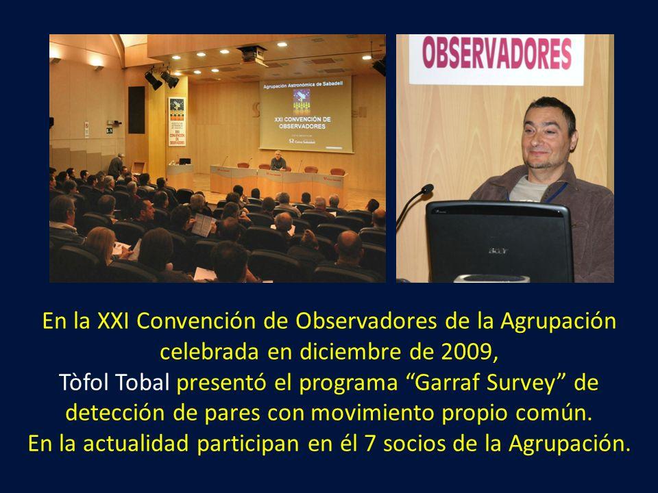 En la XXI Convención de Observadores de la Agrupación celebrada en diciembre de 2009, Tòfol Tobal presentó el programa Garraf Survey de detección de p