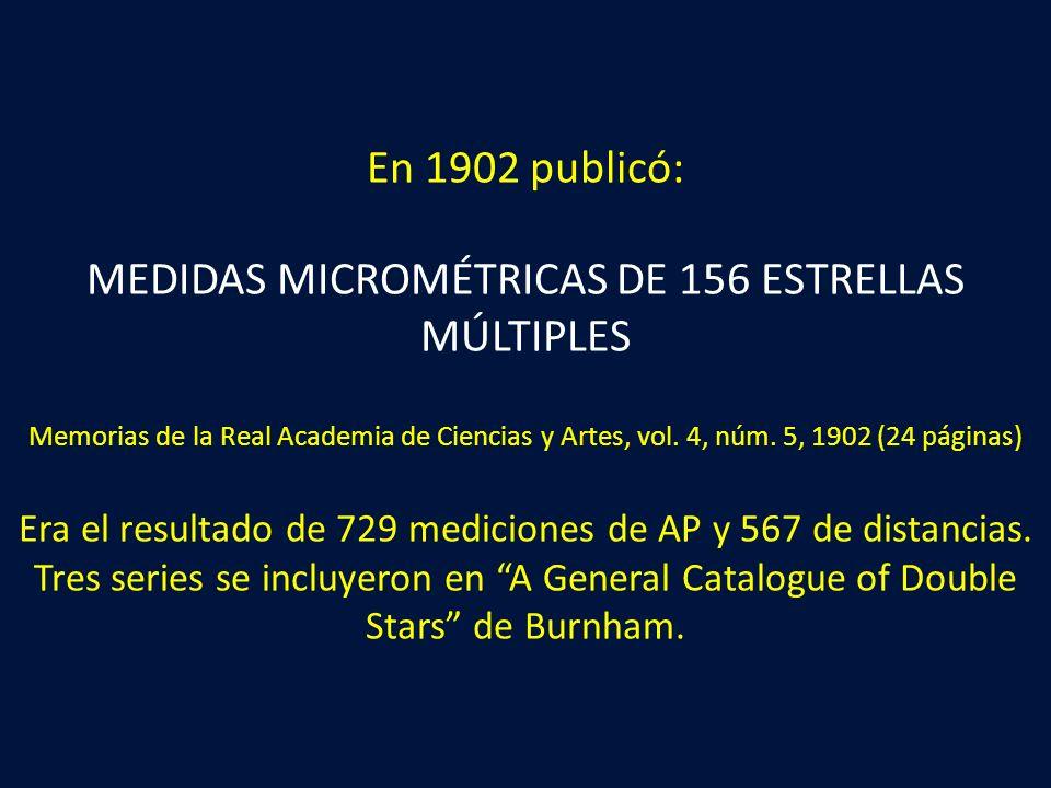 En 1902 publicó: MEDIDAS MICROMÉTRICAS DE 156 ESTRELLAS MÚLTIPLES Memorias de la Real Academia de Ciencias y Artes, vol. 4, núm. 5, 1902 (24 páginas)