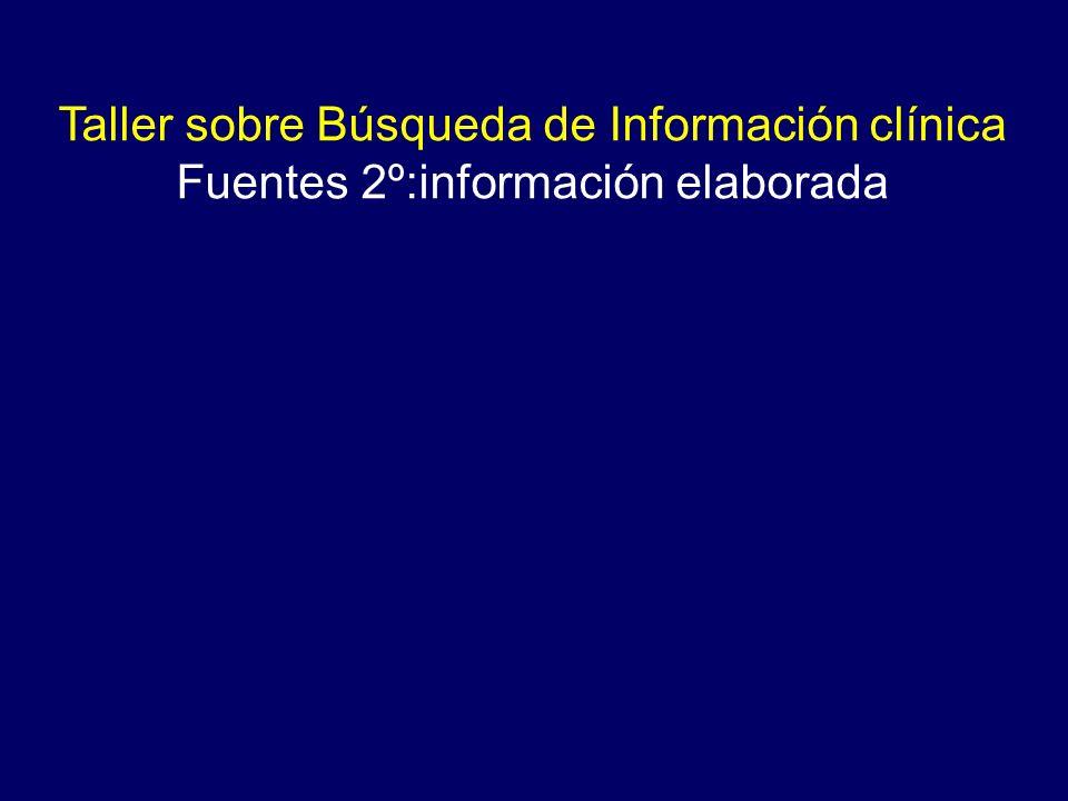 Taller sobre Búsqueda de Información clínica Fuentes 2º:información elaborada
