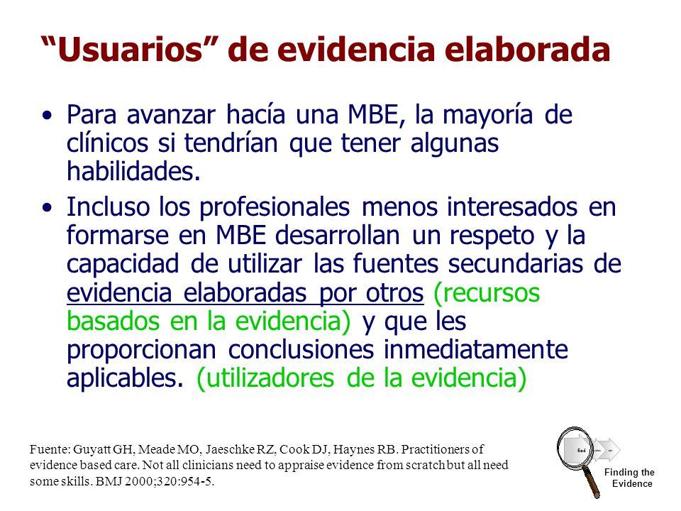 Usuarios de evidencia elaborada Para avanzar hacía una MBE, la mayoría de clínicos si tendrían que tener algunas habilidades. Incluso los profesionale