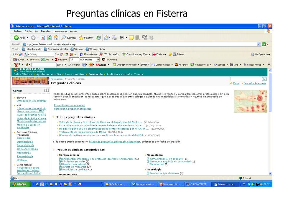 Preguntas clínicas en Fisterra
