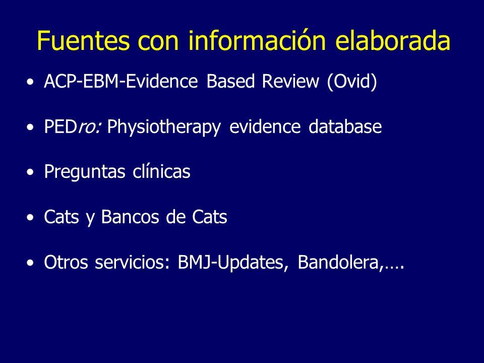 Fuentes con información elaborada ACP-EBM-Evidence Based Review (Ovid) PEDro: Physiotherapy evidence database Preguntas clínicas Cats y Bancos de Cats