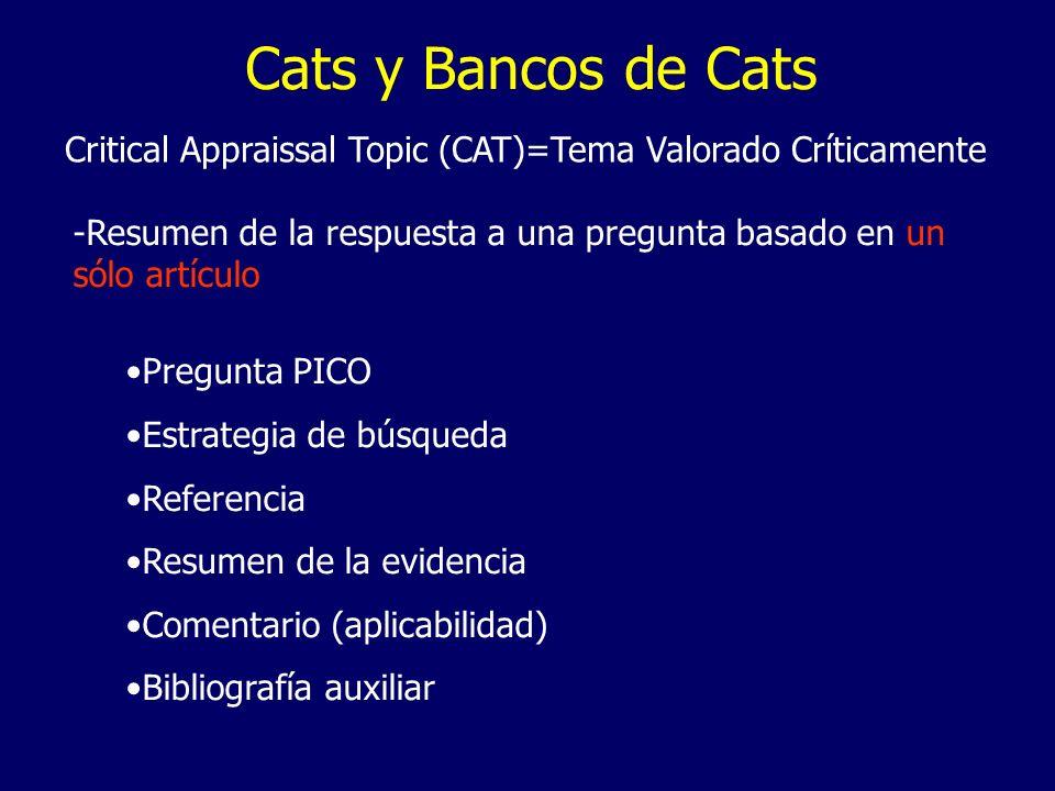 Cats y Bancos de Cats Critical Appraissal Topic (CAT)=Tema Valorado Críticamente -Resumen de la respuesta a una pregunta basado en un sólo artículo Pr