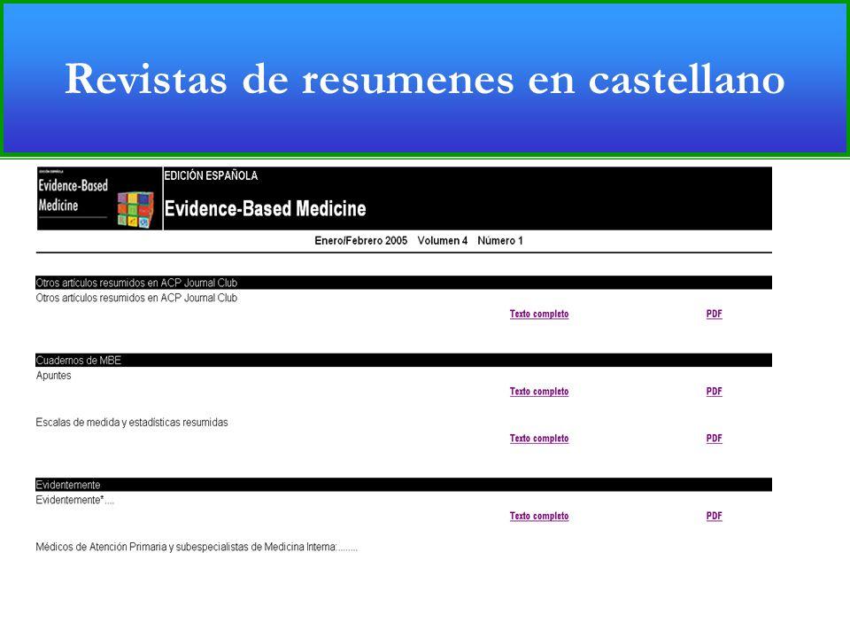 Revistas de resúmenes de evidencia (Castellano) Revistas de resumenes en castellano