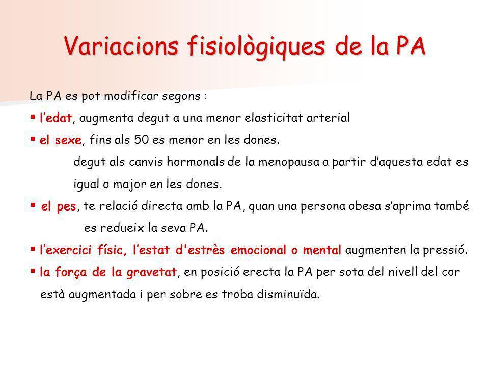 Variacions fisiològiques de la PA La PA es pot modificar segons : ledat, augmenta degut a una menor elasticitat arterial el sexe, fins als 50 es menor