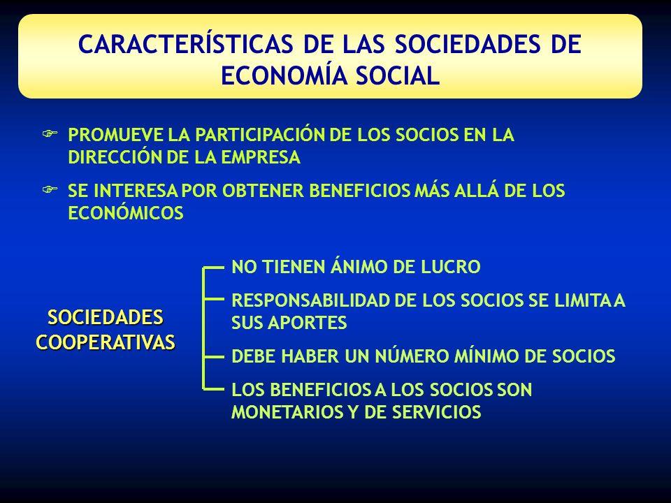 CARACTERÍSTICAS DE LAS SOCIEDADES DE ECONOMÍA SOCIAL SOCIEDADES LABORALES ACCIONES EN MANOS DE LOS TRABAJADORES DE LA EMPRESA BUSCAN BENEFICIOS PARA LOS SOCIOS DE CARÁCTER MONETARIO Y DE SERVICIOS