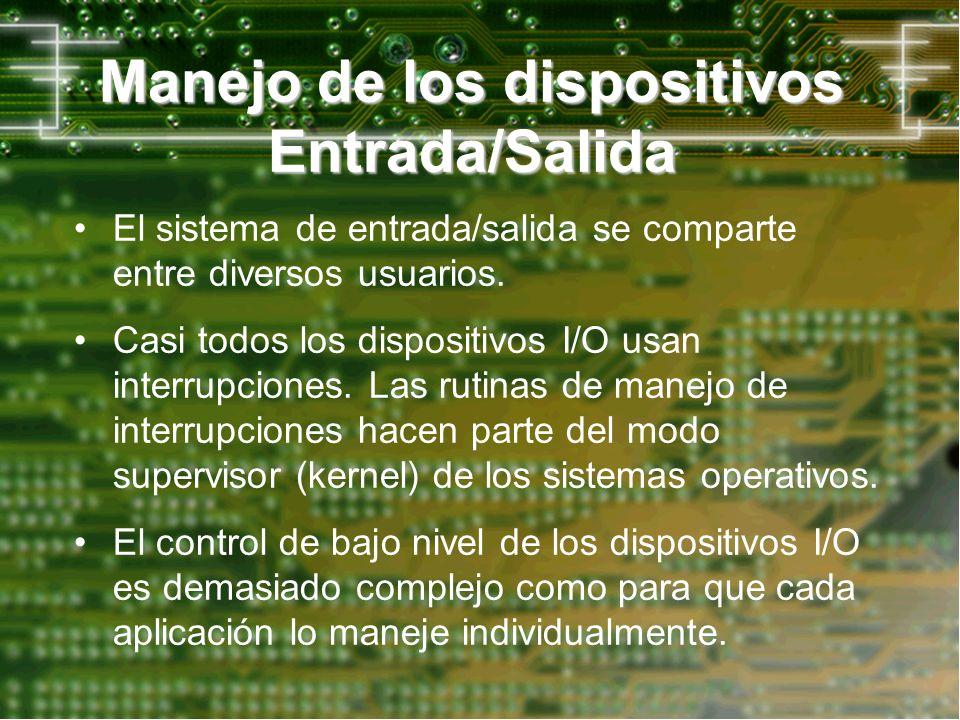 Manejo de los dispositivos Entrada/Salida El sistema de entrada/salida se comparte entre diversos usuarios. Casi todos los dispositivos I/O usan inter