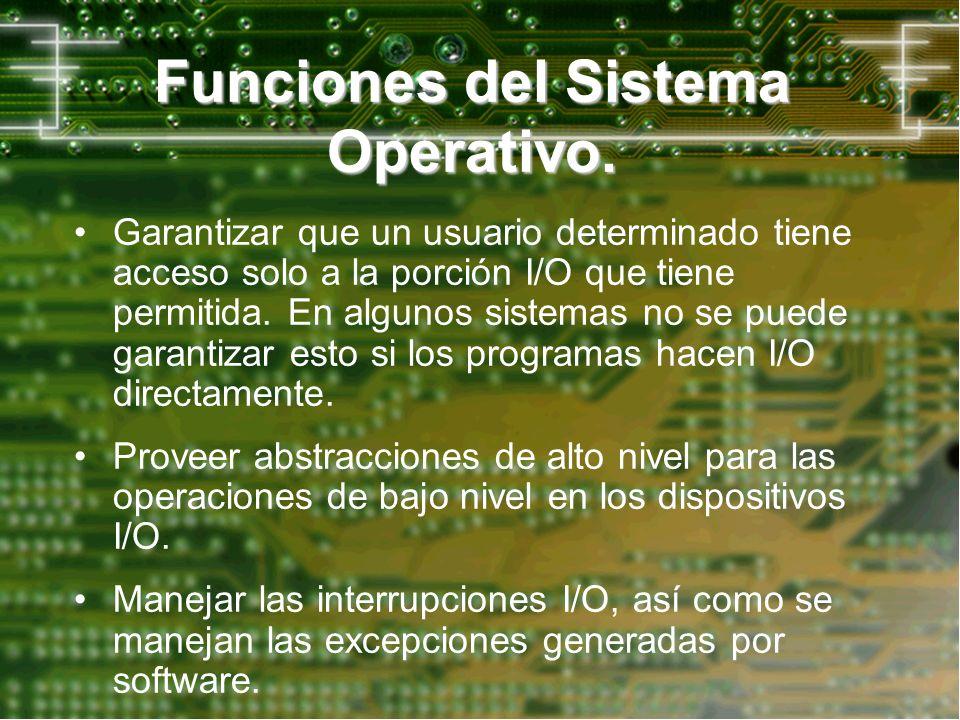 Funciones del Sistema Operativo. Garantizar que un usuario determinado tiene acceso solo a la porción I/O que tiene permitida. En algunos sistemas no