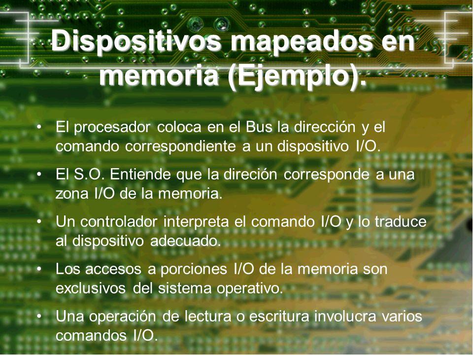 Dispositivos mapeados en memoria (Ejemplo). El procesador coloca en el Bus la dirección y el comando correspondiente a un dispositivo I/O. El S.O. Ent