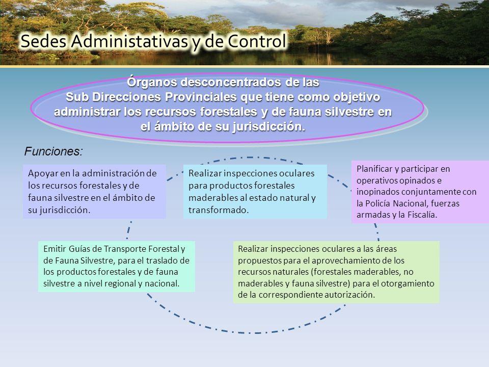 Órganos desconcentrados de las Sub Direcciones Provinciales que tiene como objetivo administrar los recursos forestales y de fauna silvestre en el ámbito de su jurisdicción.
