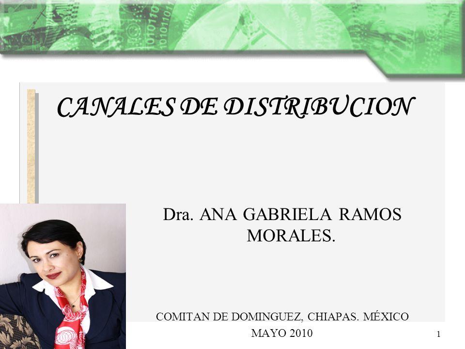 Dra. ANA GABRIELA RAMOS MORALES. COMITAN DE DOMINGUEZ, CHIAPAS. MÉXICO MAYO 2010 1 CANALES DE DISTRIBUCION