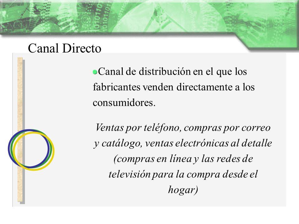 Canal Directo Canal de distribución en el que los fabricantes venden directamente a los consumidores. Ventas por teléfono, compras por correo y catálo