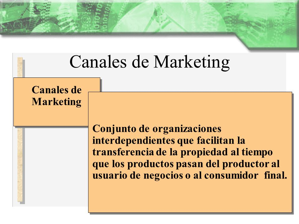 Canales de Marketing Canales de Marketing Canales de Marketing Conjunto de organizaciones interdependientes que facilitan la transferencia de la propi