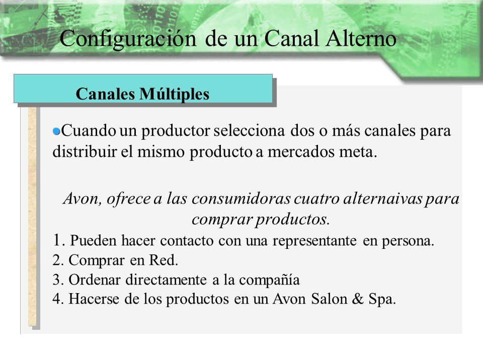 Configuración de un Canal Alterno Canales Múltiples Cuando un productor selecciona dos o más canales para distribuir el mismo producto a mercados meta