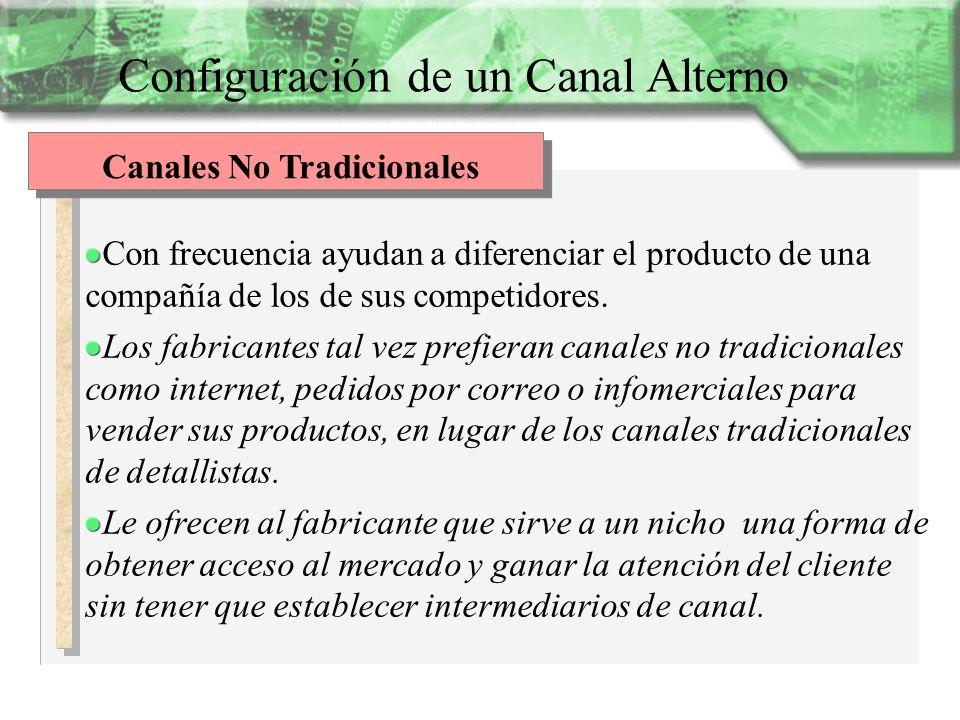 Configuración de un Canal Alterno Canales No Tradicionales Con frecuencia ayudan a diferenciar el producto de una compañía de los de sus competidores.