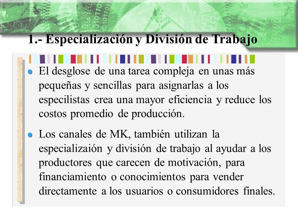 1.- Especialización y División de Trabajo El desglose de una tarea compleja en unas más pequeñas y sencillas para asignarlas a los especilistas crea u
