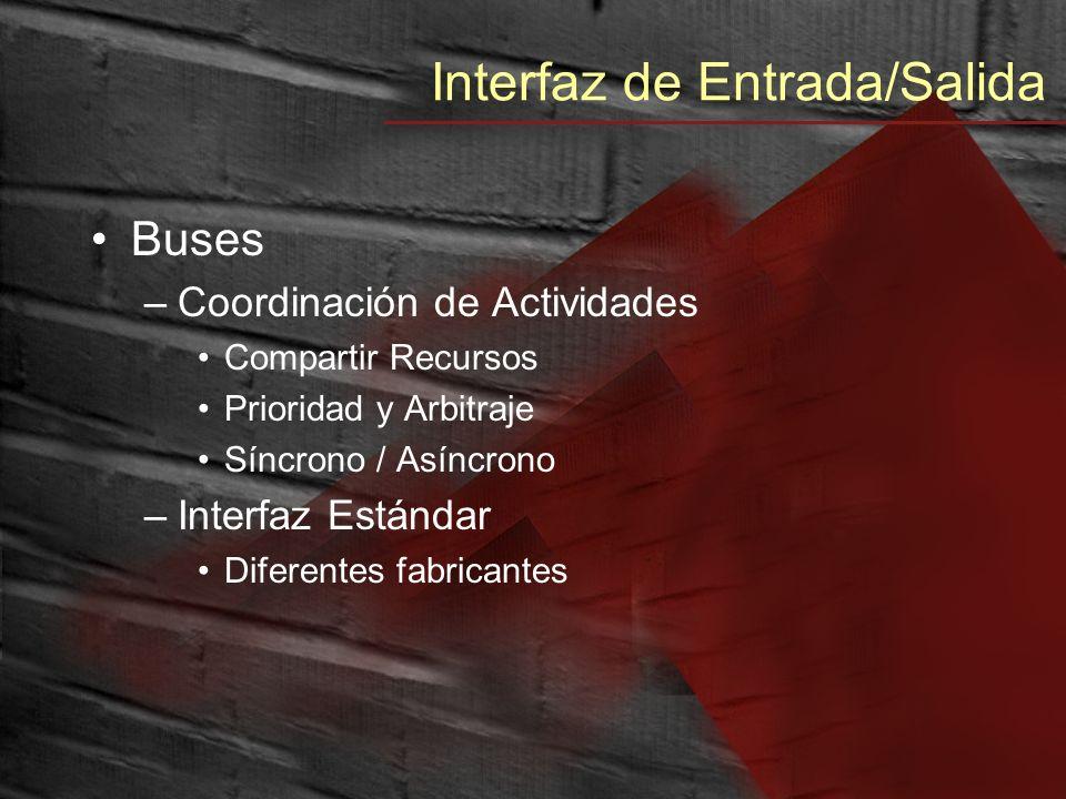 Interfaz de Entrada/Salida Buses –Coordinación de Actividades Compartir Recursos Prioridad y Arbitraje Síncrono / Asíncrono –Interfaz Estándar Diferen