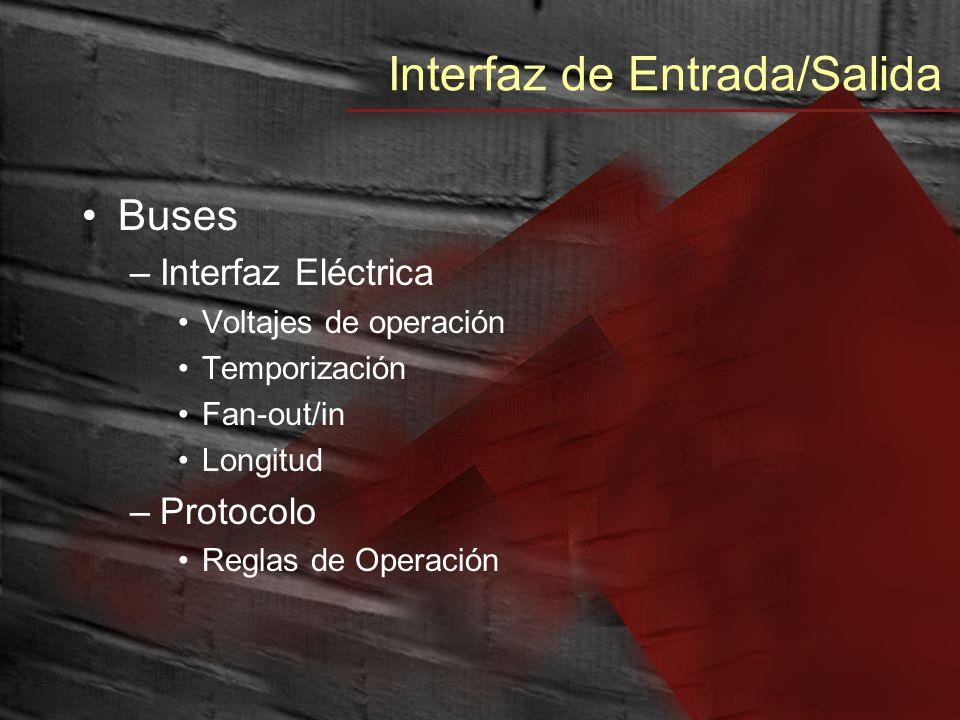 Interfaz de Entrada/Salida Buses –Interfaz Eléctrica Voltajes de operación Temporización Fan-out/in Longitud –Protocolo Reglas de Operación