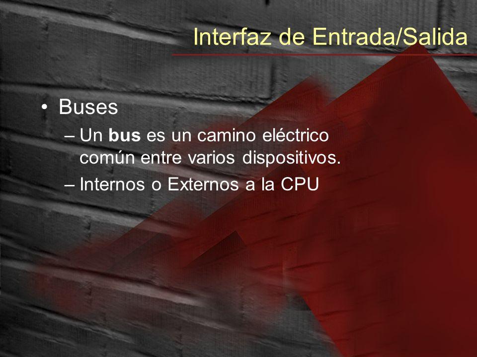 Interfaz de Entrada/Salida Buses –Un bus es un camino eléctrico común entre varios dispositivos. –Internos o Externos a la CPU