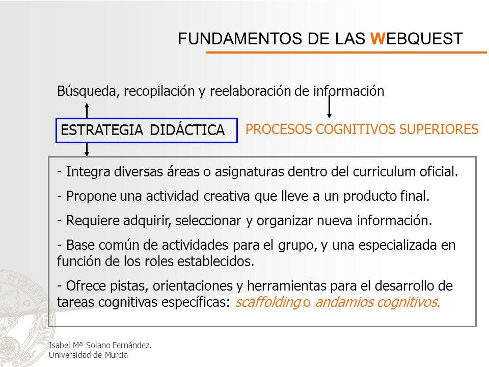 FUNDAMENTOS DE LAS WEBQUEST ESTRATEGIA DIDÁCTICA Búsqueda, recopilación y reelaboración de información PROCESOS COGNITIVOS SUPERIORES - Integra divers